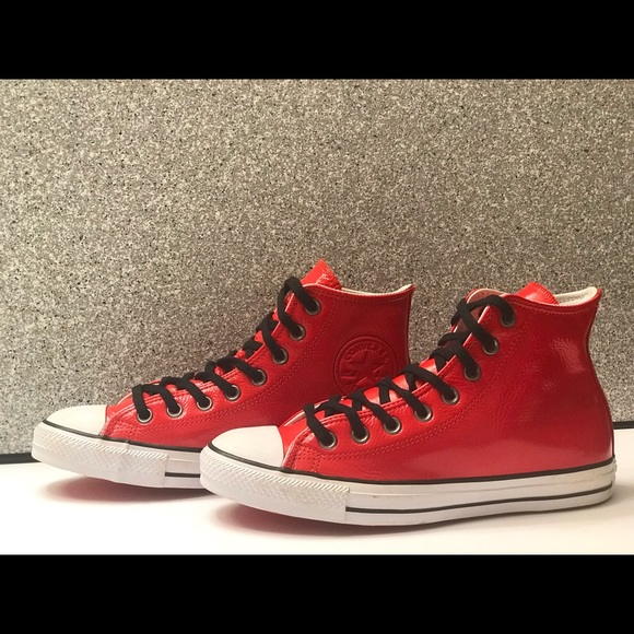Men's Converse Chuck Taylor Red Glossy High Top